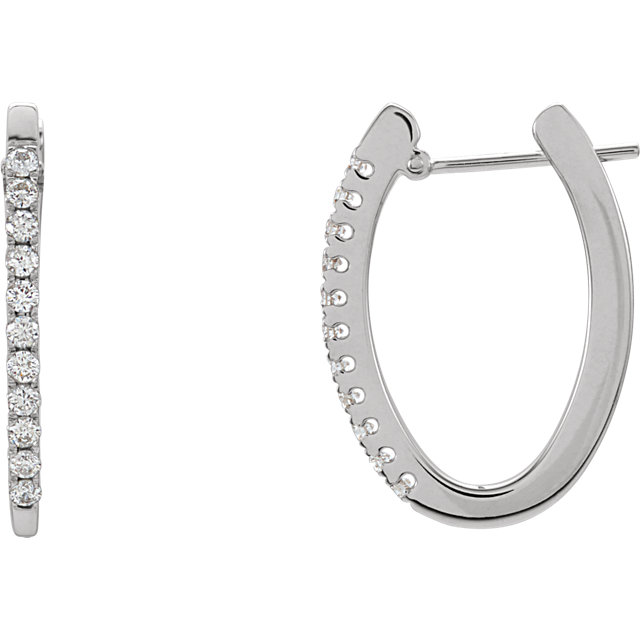 Wonderful 14 Karat White Gold 0.33 Carat Total Weight Diamond Hoop Earrings