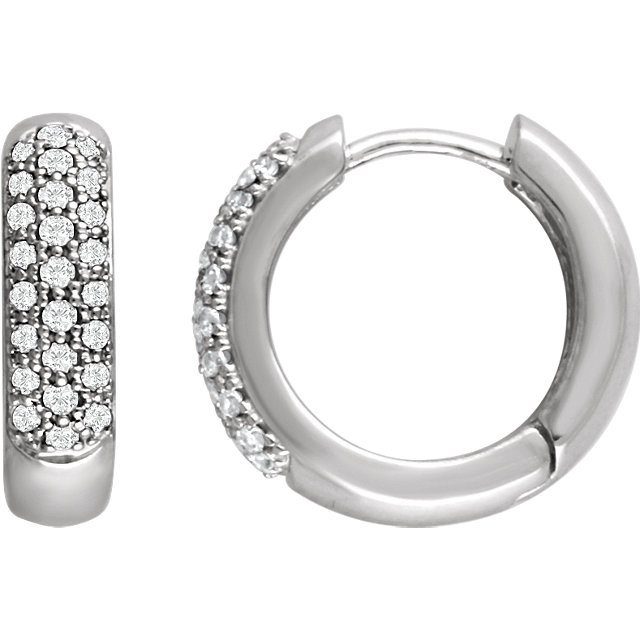 Easy Gift in 14 Karat White Gold 0.33 Carat Total Weight Diamond Hoop Earrings