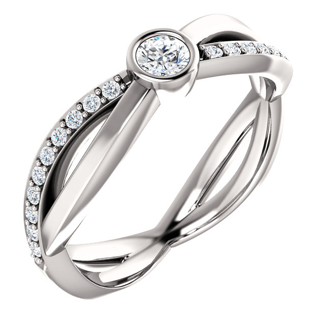 Low Price on Quality 14 KT White Gold 3.4mm Round 0.33 Carat TW Diamond Infinity-Inspired Ring