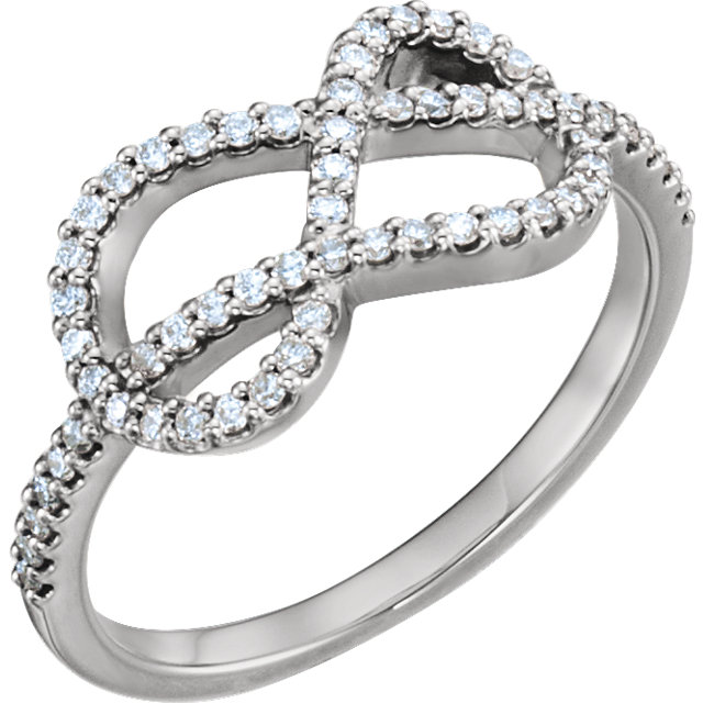 Genuine 14 KT White Gold 0.33 Carat TW Diamond Knot Ring