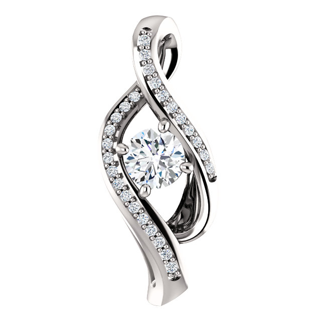 Eye Catchy 14 Karat White Gold 0.33 Carat Total Weight Diamond Pendant