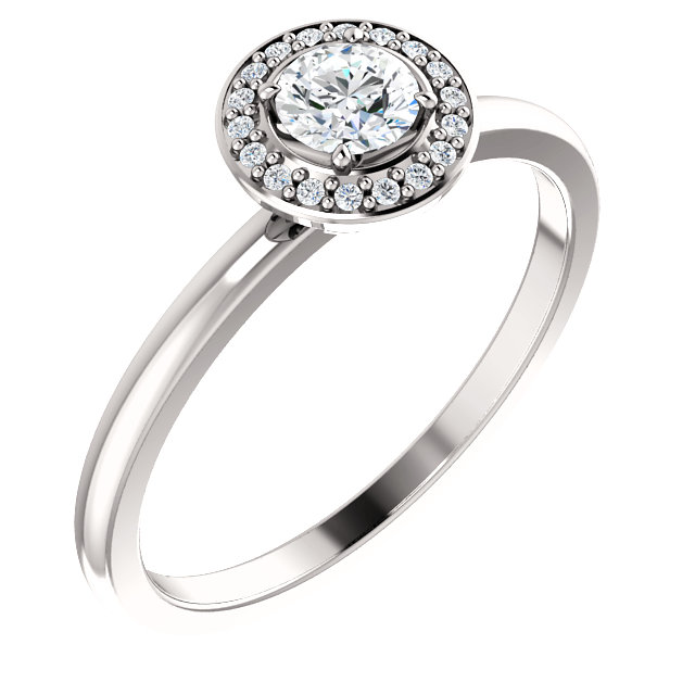 Lovely 14 KT White Gold 0.33 Carat TW Round Genuine Diamond Ring