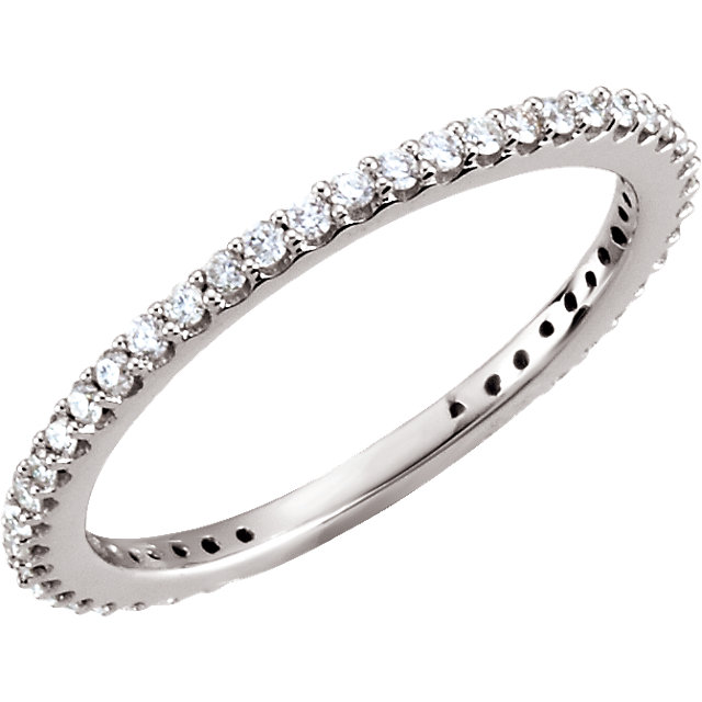 Genuine 14 Karat White Gold 0.33 Carat Diamond Stackable Ring Size 5