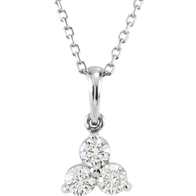 Perfect Gift Idea in 14 Karat White Gold 0.33 Carat Total Weight Diamond Three-Stone 18