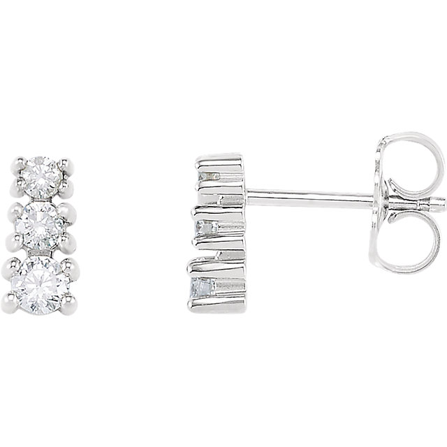 Eye Catchy 14 Karat White Gold 0.25 Carat Total Weight Diamond Three-Stone Earrings
