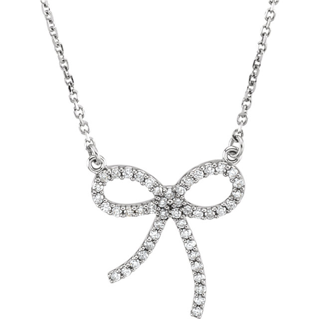 Must See 14 KT White Gold 0.25 Carat TW Diamond Bow 16