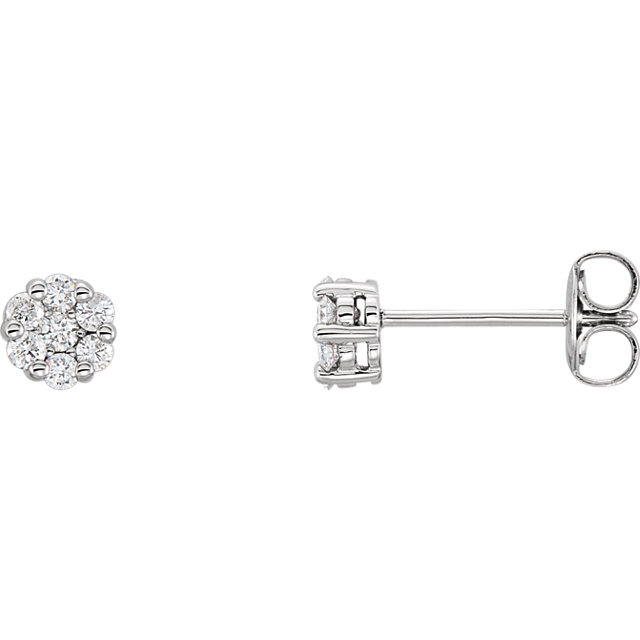 Contemporary 14 Karat White Gold 0.25 Carat Total Weight Diamond Cluster Earrings