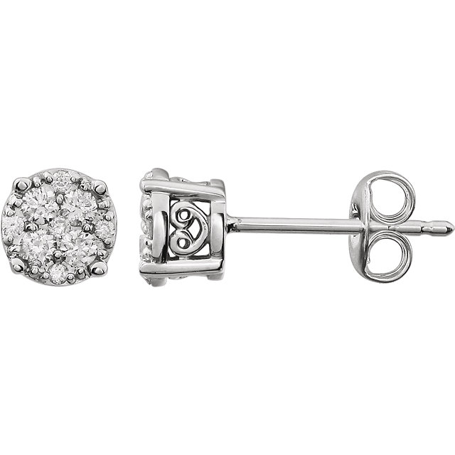 Beautiful 14 Karat White Gold 0.25 Carat Total Weight Diamond Cluster FriCaration Post Earrings
