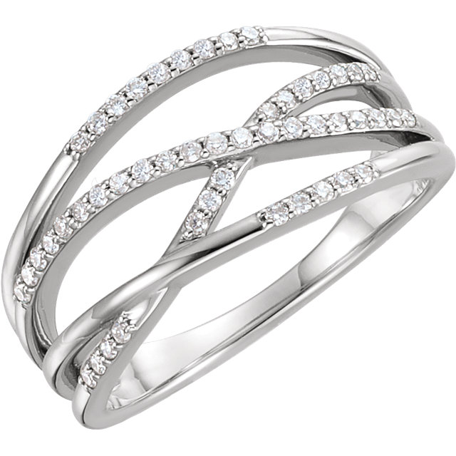 14 Karat White Gold 0.20 Carat Diamond Criss-Cross Ring