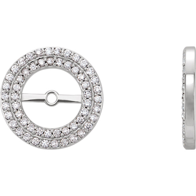 Contemporary 14 Karat White Gold 0.25Carat Total Weight Diamond Earring Jackets