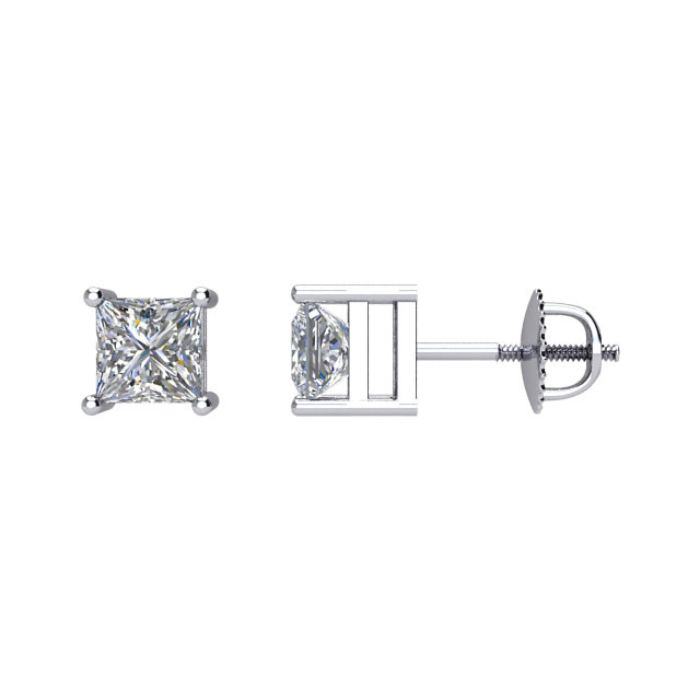 14 KT White Gold 1/4 Carat Total Weight Diamond Earrings