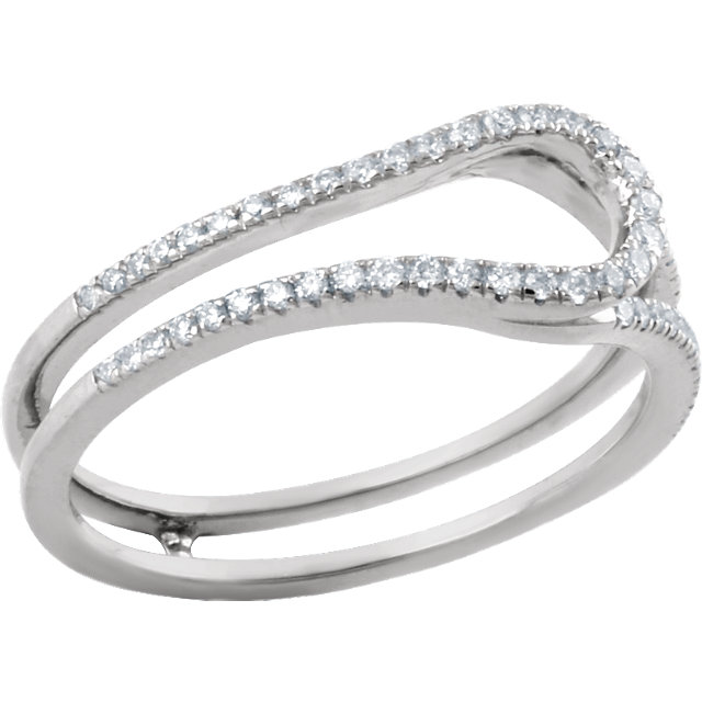 14 KT White Gold 1/4 Carat TW Diamond Freeform Ring