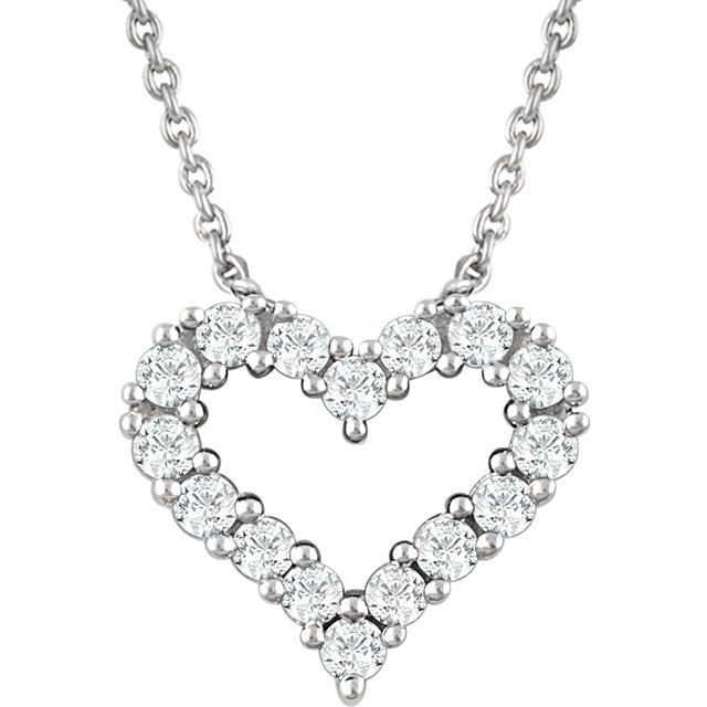 14 Karat White Gold 0.25 Carat Diamond Heart 18