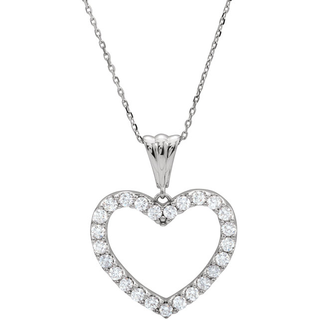 14 KT White Gold 1/4 Carat TW Diamond Heart 18