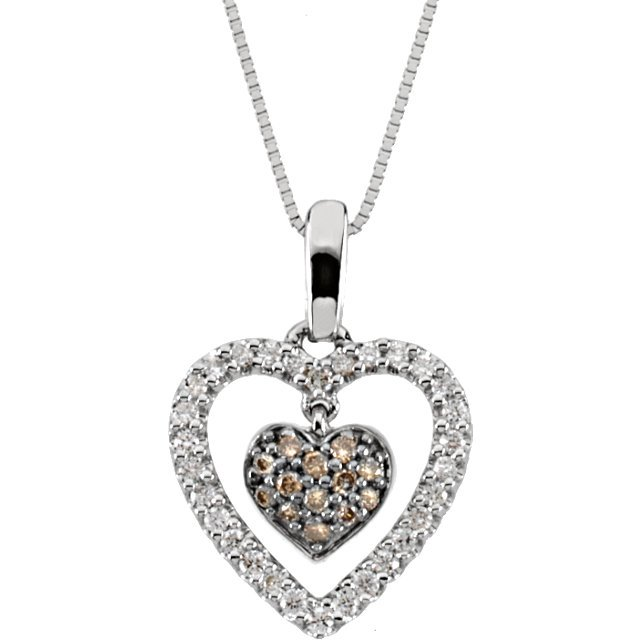 14 KT White Gold 1/4 Carat Total Weight Diamond Heart 18