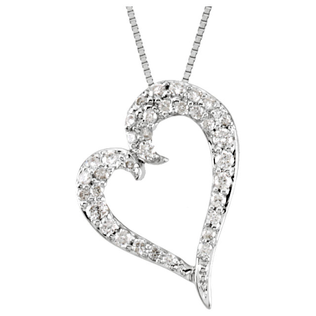 Great Gift in 14 Karat White Gold 0.25 Carat Total Weight Diamond Heart 18