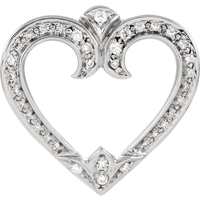 Good Looking 14 Karat White Gold 0.25 Carat Total Weight Round Genuine Diamond Heart Pendant Slide