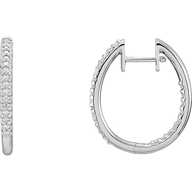 Contemporary 14 Karat White Gold 0.25 Carat Total Weight Diamond Hinged Inside-Outside Hoop Earrings