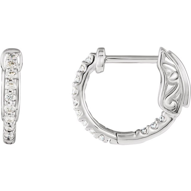 Fine Quality 14 Karat White Gold 0.25 Carat Total Weight Diamond Inside/Outside Hoop Earrings