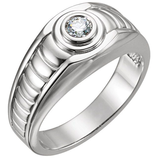 14 KT White Gold 0.25 Carat TW Diamond Men's Ring