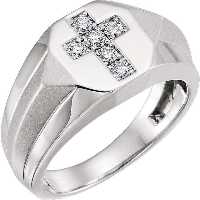 Shop 14 KT White Gold 0.33 Carat TW Diamond Men's Ring