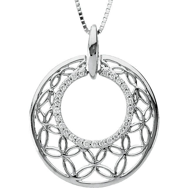 14 KT White Gold 1/4 Carat Total Weight Diamond Openwork Circle Pendant