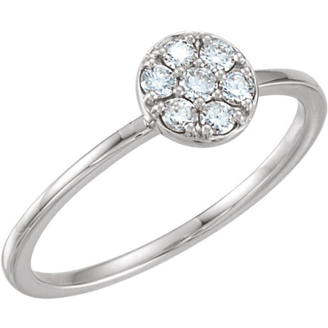Appealing Jewelry in 14 Karat White Gold 0.20 Carat Total Weight Diamond Stackable Cluster Ring