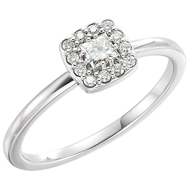 14 KT White Gold 0.25 Carat TW Diamond Stackable Ring