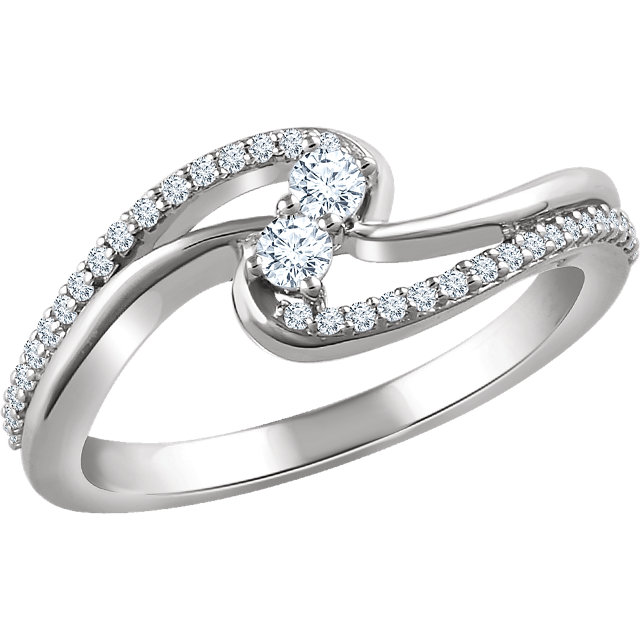 Low Price on 14 KT White Gold 0.25 Carat TW Diamond Two Stone Ring