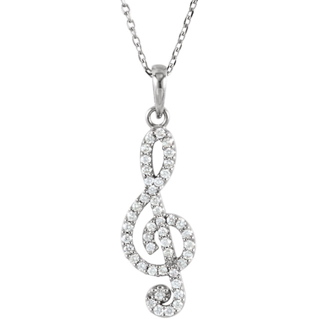 Wonderful 14 Karat White Gold 0.25Carat Total Weight Diamond Petite Treble Clef 16