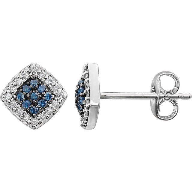 Perfect Gift Idea in 14 Karat White Gold 0.20 Carat Total Weight Blue & White Diamond Cluster Earrings