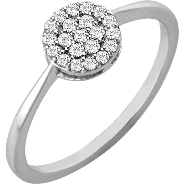 Genuine  14 KT White Gold 0.20 Carat TW Diamond Cluster Ring