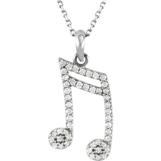 Quality 14 KT White Gold 0.20 Carat TW Diamond Double Sixteenth Note 16