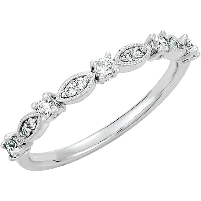 Surprise Her with  14 Karat White Gold 0.20 Carat Total Weight Diamond Granulated Stackable Ring Size 7