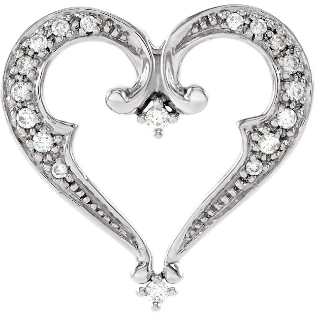 Pleasing 14 Karat White Gold 0.20 Carat Total Weight Round Genuine Diamond Heart Pendant Slide