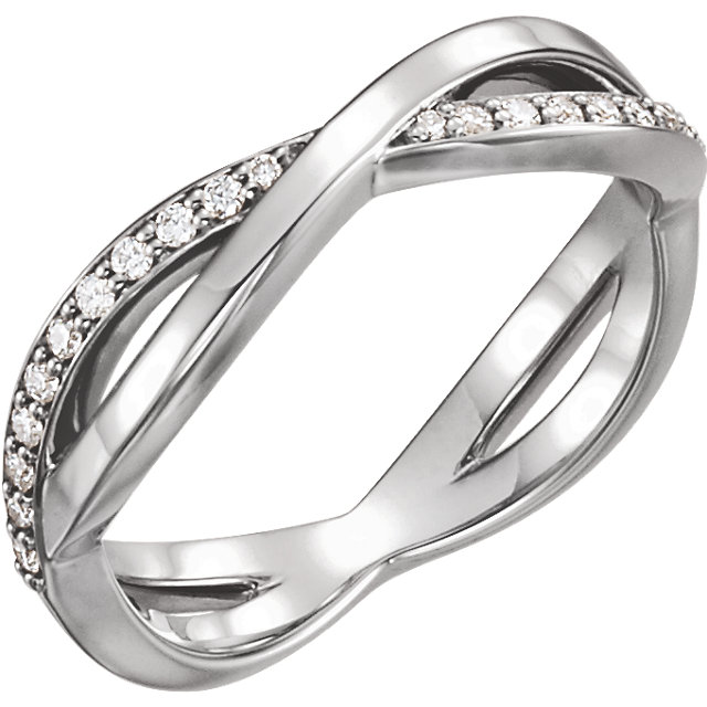 Genuine  14 KT White Gold 0.20 Carat TW  Diamond Infinity-Inspired Ring