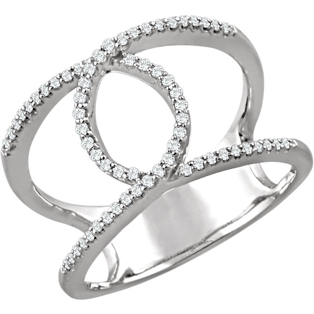 14 KT White Gold 1/5 Carat TW Diamond Interlocking Loop Ring
