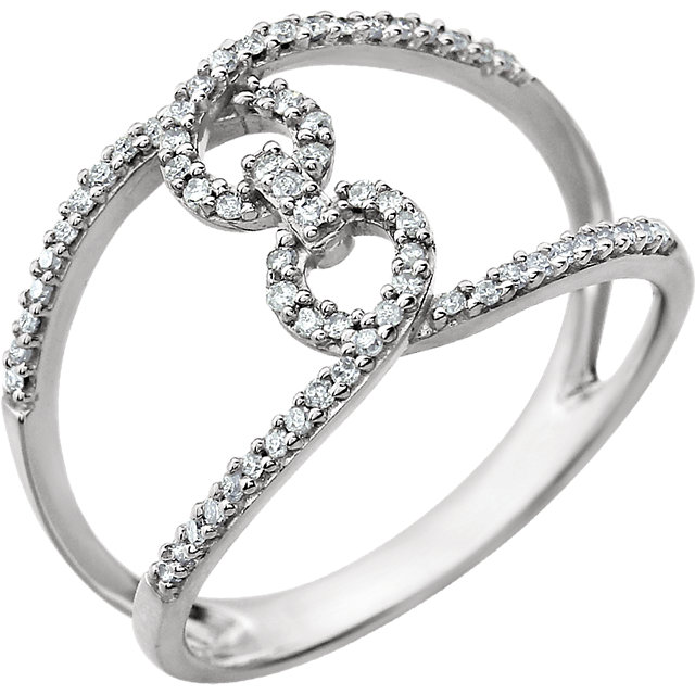 14 KT White Gold 1/5 Carat TW Diamond Interlocking Ring