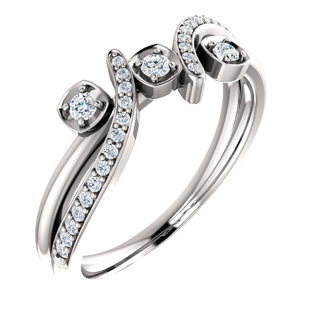 Low Price on Quality 14 KT White Gold 0.20 Carat TW Diamond Ring