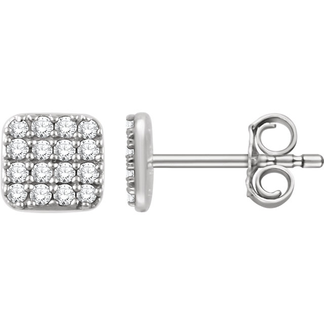 Great Buy in 14 KT White Gold 0.20 Carat TW Diamond Square Cluster Earrings