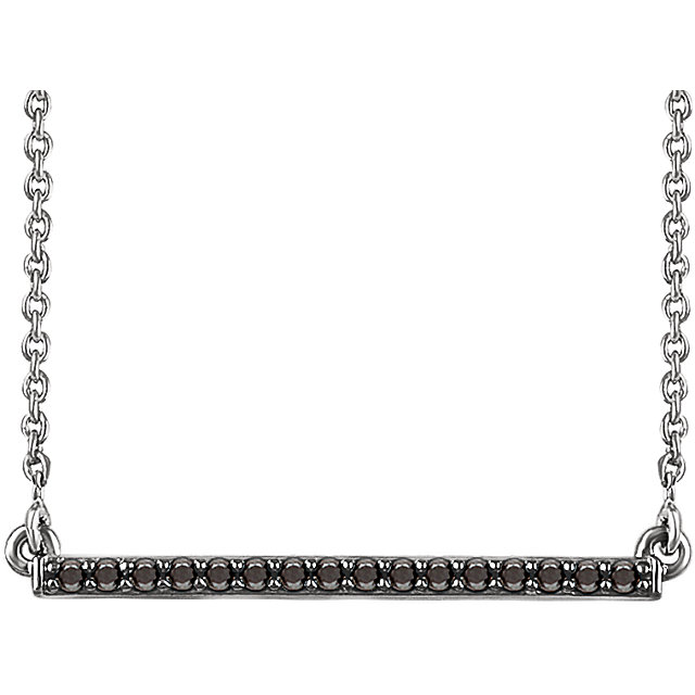 14 Karat White Gold 0.17 Carat Black Diamond Bar 18