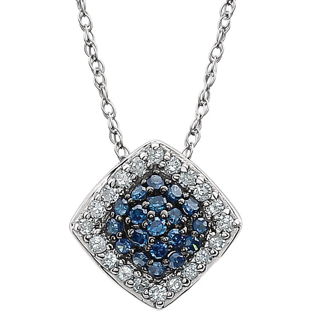 Best 14 Karat White Gold 1/6 Carat Total Weight Blue & White Round Genuine Diamond Cluster 18