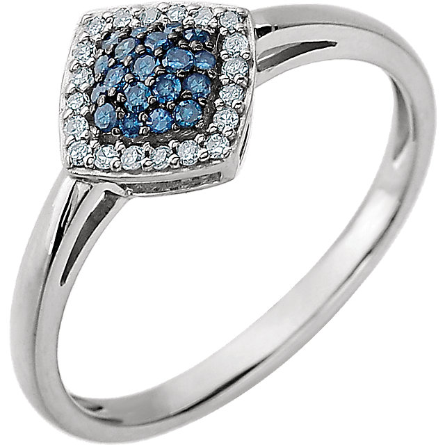 Low Price on Quality 14 KT White Gold 0.17 Carat TW Blue & White Diamond Cluster Ring
