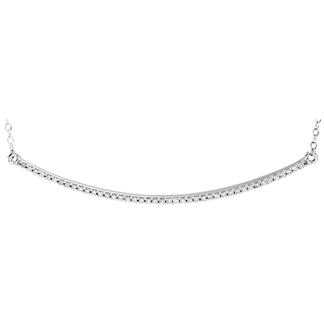 Eye Catchy 14 Karat White Gold 0.17 Carat Total Weight Diamond Bar 16-18