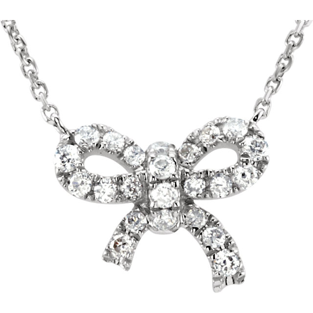 14 Karat White Gold 0.17 Carat Diamond Bow 18