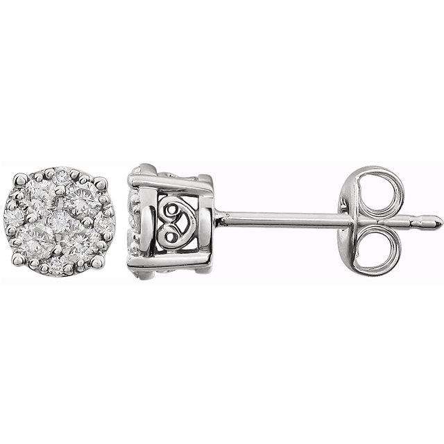 Appealing Jewelry in 14 Karat White Gold 0.17 Carat Total Weight Diamond Cluster FriCaration Post Earrings