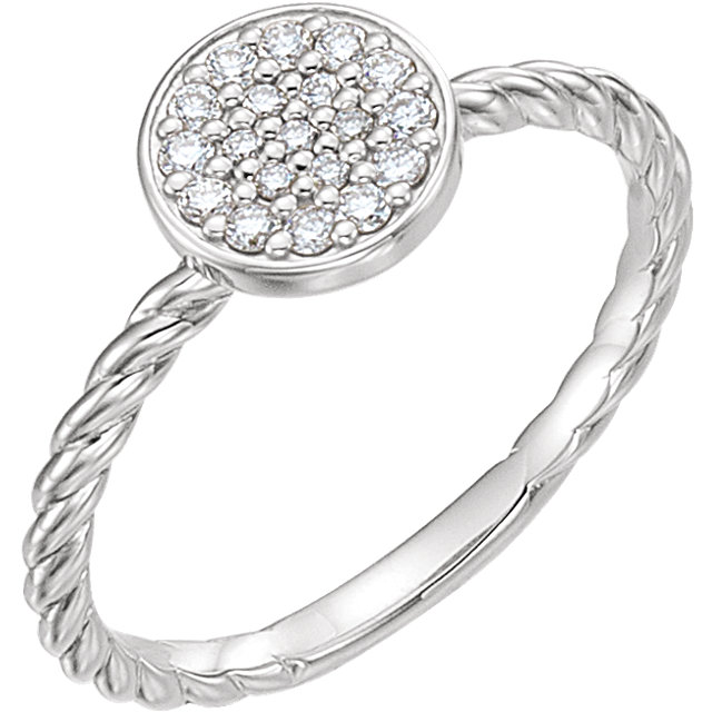 Genuine  14 Karat White Gold 0.17 Carat Diamond Cluster Rope Ring