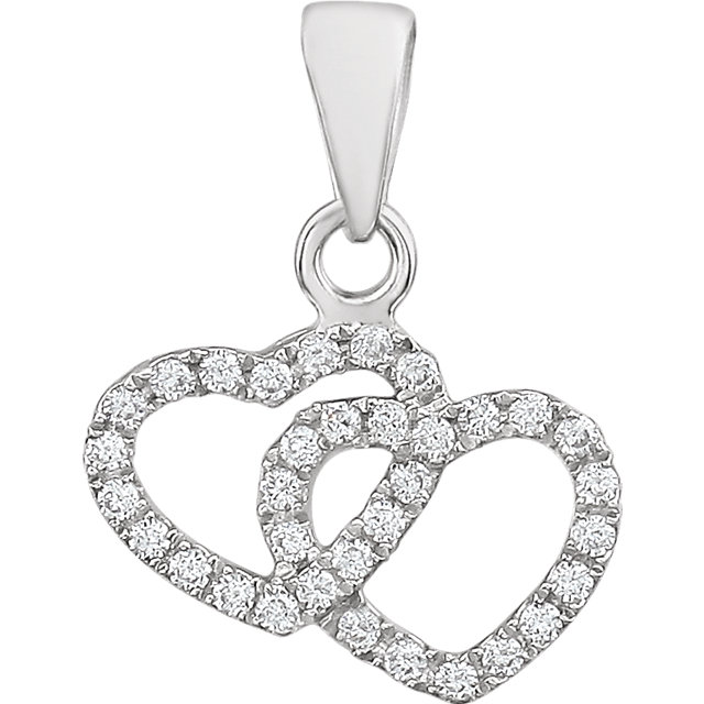 Chic 14 Karat White Gold 0.17 Carat Total Weight Diamond Double Heart Pendant