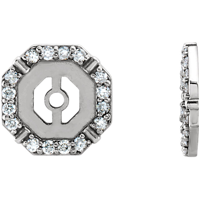 Perfect Gift Idea in 14 Karat White Gold 0.17 Carat Total Weight Diamond Earring Jackets