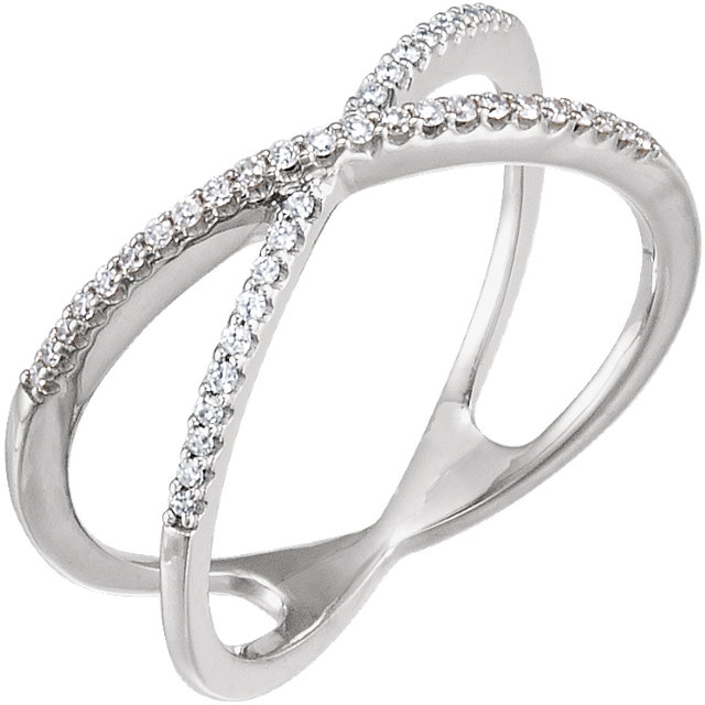 14 KT White Gold 0.17 Carat TW Diamond Criss-Cross Ring